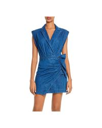 7 For All Mankind Blue Cotton Ruffled Blazer Dress