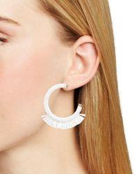 BaubleBar White Rena Rafia Hoop Earrings