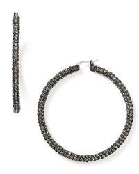 ABS By Allen Schwartz | Metallic Pave Hoop Earrings | Lyst