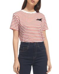 Whistles Multicolor Crane Embroidered Tee