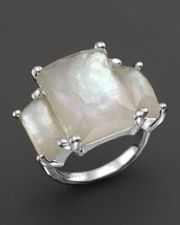 Ippolita White Sterling Silver Rock Candy 3 - Stone Prong Set Ring In Mother - Of - Pearl