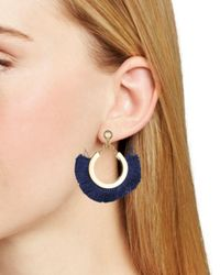 Trina Turk Blue Fringe Statement Earrings