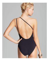 Tory Burch | Black Logo One Shoulder One Piece Swimsuit | Lyst