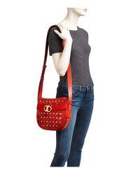 Tory Burch Red Gemini Link Cutout Small Suede Shoulder Bag
