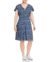 Lucky Brand Blue Floral Smocked Waist Dress