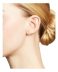 Adina Reyter - Metallic 14k Yellow Gold Diamond Amigos Curved Triple Diamond Stud Earrings - Lyst