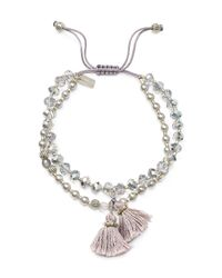 Chan Luu - Metallic Swarovski Crystal Beaded Tassel Bracelet - Lyst