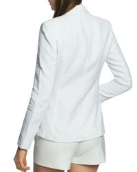 1.STATE White Double - Breasted Linen Blazer