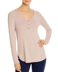 Three Dots Pink Long - Sleeve Brushed Henley Top
