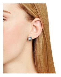 Nadri - Gray Framed Button Earrings - Lyst