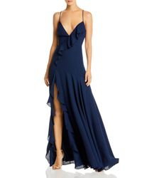 Fame & Partners Blue Frame And Partners Callais Ruffled Gown