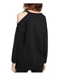 Calvin Klein - Black Metallic Cold-shoulder Sweater - Lyst