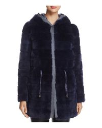 Maximilian - Blue Reversible Rabbit Fur & Down Jacket - Lyst