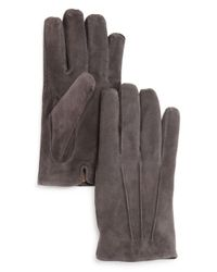 Bloomingdale's Gray Three - Cord Suede Gloves for men