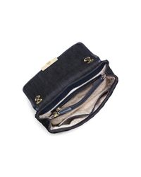 MICHAEL Michael Kors Black Large Sloan Dark Denim Chain Shoulder Bag