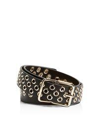 Karen Millen Black Grommet Leather Belt