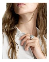 John Hardy - Gray Sterling Silver Bamboo Small Ring With Grey Moonstone And Grey Diamonds - Lyst