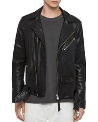 AllSaints Black Roundhouse Biker Jacket for men