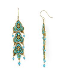 Miguel Ases Blue Long Beaded Drop Earrings