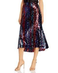 Rachel Zoe Blue Venice Sequined Midi Skirt
