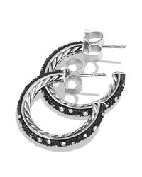 David Yurman Metallic Midnight Mélange Small Hoop Earrings With Diamonds