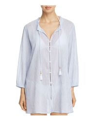 Tommy Bahama | White Striped Gauze Button-front Shirt Dress Swim Cover-up | Lyst