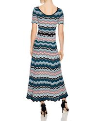 Sandro Blue Rone Geo-stripe Knit Dress