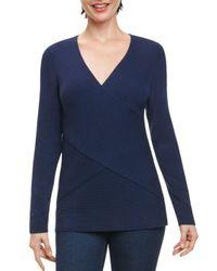 Foxcroft - Blue Ribbed Crisscross Sweater - Lyst