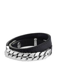 David Yurman Metallic Chain Double Wrap Leather Bracelet for men