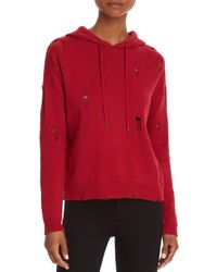 Aqua Red Distressed Hooded Sweater