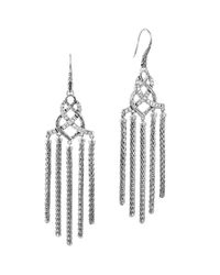 John Hardy | Metallic Classic Chain Silver Diamond Pavé Chandelier Earrings | Lyst