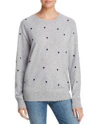 Aqua Gray Cashmere Heart Embroidered Cashmere Sweater