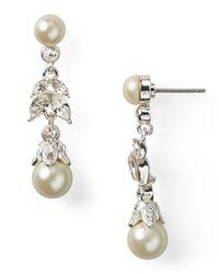 Carolee - Metallic Linear Pearl Teardrop Earrings - Lyst