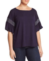 Vince Camuto Signature - Purple Smocked-sleeve Top - Lyst