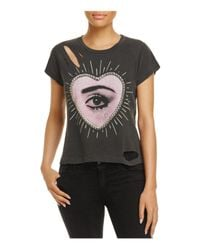 Wildfox | Black Relic Distressed Graphic Tee | Lyst