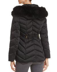 T Tahari - Black Paris Faux Fur Trim Puffer Coat - Lyst