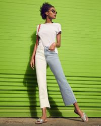 7 For All Mankind Blue Alexa Two - Tone Ankle Wide - Leg Jeans In Cloud Sky