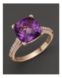 Lisa Nik Purple 18k Rose Gold Amethyst And Diamond Ring