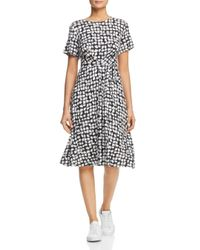 Weekend by Maxmara White Nazario Belted Brushstroke-print Dress