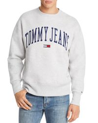 Tommy Hilfiger Gray Tommy Jeans Collegiate Crewneck Sweatshirt for men