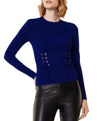 karen millen denim corseteffect jumper in blue  lyst