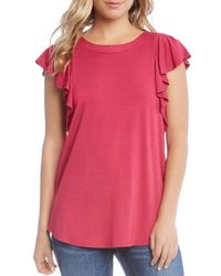 Karen Kane Pink Flutter Sleeve Top