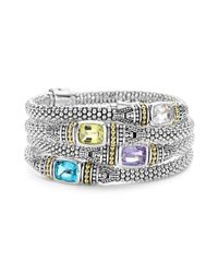 Lagos - Metallic 18k Gold And Sterling Silver Caviar Color Bracelet With Rose De France Amethyst - Lyst