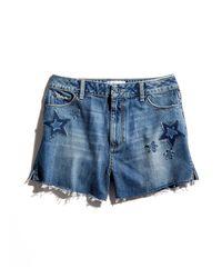 PAIGE | Blue Margot Star Patch Denim Shorts | Lyst