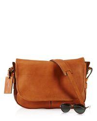 Ralph Lauren Brown Polo Core Leather Messenger Bag for men