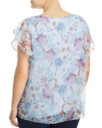 Vince Camuto Signature Blue Poetic Blooms Flutter - Sleeve Top
