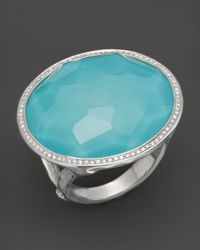 Ippolita Metallic Sterling Silver Stella Large Lollipop Ring In Turquoise Doublet With Diamonds