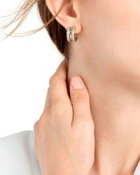 John Hardy Metallic 18k Yellow Gold Dot Diamond Hoop Earrings
