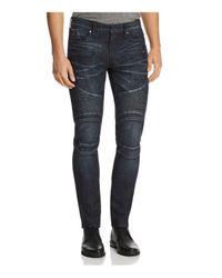 Guess - Pintuck Slim Fit Moto Jeans In Dark Blue for Men - Lyst