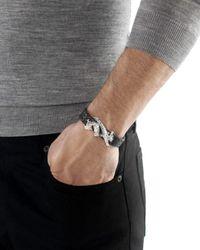 John Hardy - Metallic Men's Naga Sterling Silver Dragon Woven Black Leather Bracelet for Men - Lyst